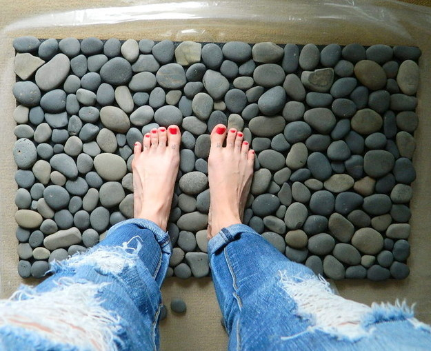 Get the spa experience with a DIY pebble bathmat.
