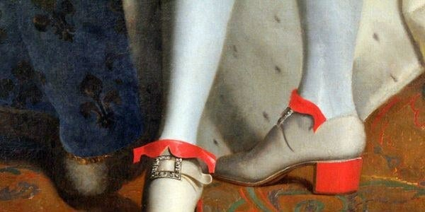 in the beginning men wore high heels and then women followed the trend! Louis XIV was a big fan of them, since he was short, and he favoured red high heeled shoes.