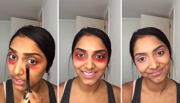 Try using red lipstick under your foundation to cover up dark circles.