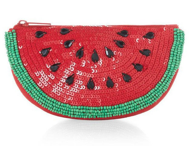 Watermelon Sequined and Beaded Zip Clutch, $13.50