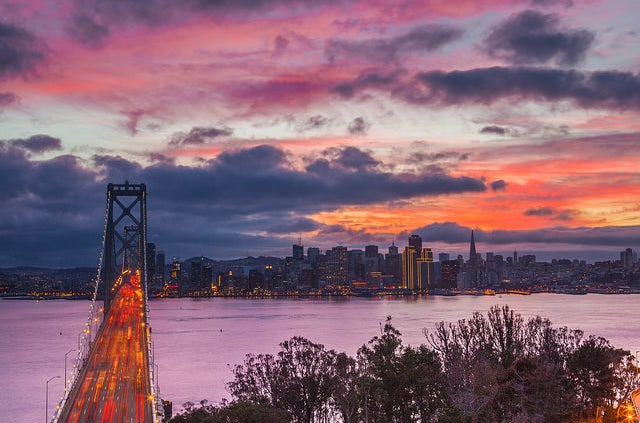 Sunset view of San Francisco from Treasure Island.