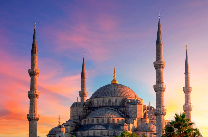 Sunset over the Blue Mosque in Istanbul.