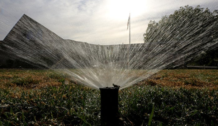 Sprinklers water a lawn in Sacramento, California.