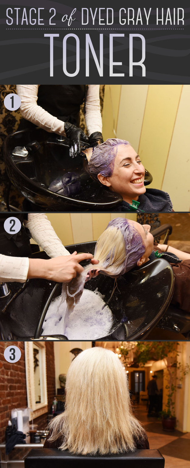 Next, purple toner is applied to take away any yellow undertones left by the bleach.