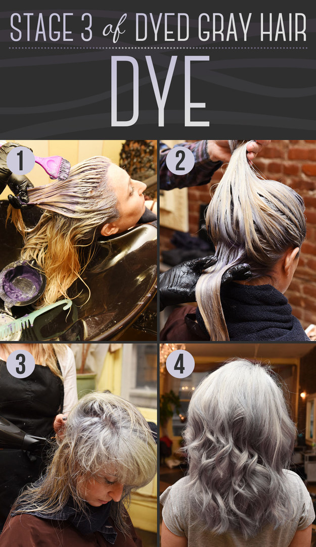 Then the stylist will apply the dye, which actually looks purple.
