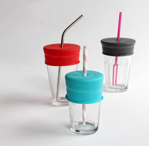 Use your favorite glass, but make it spill-proof. $19.95 for a set of three, here.