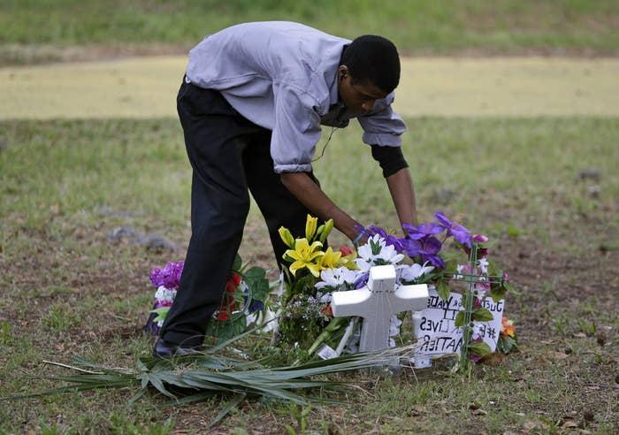Scott's memorial at the shooting scene