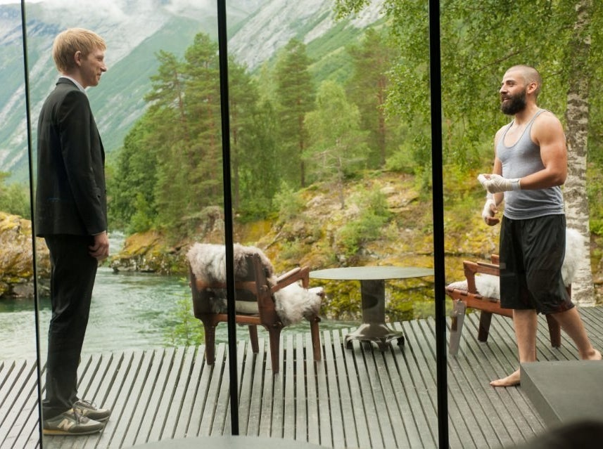 Domhnall Gleeson and Isaac in Ex Machina