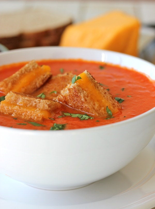 A perfect winter meal, and the little grilled cheese croutons take this up a level from your standard tomato soup. Recipe here.