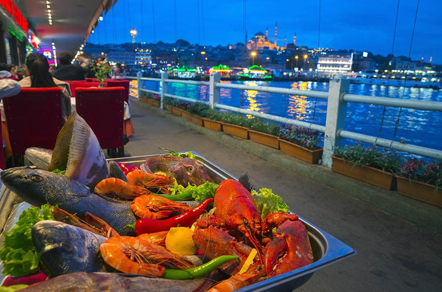 Fresh seafood by the Galata Bridge, Istanbul.
