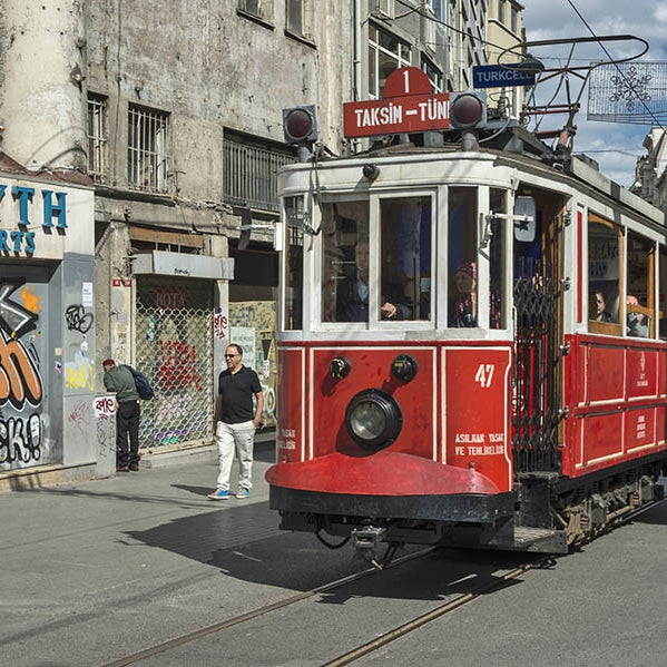 Vintage tram in Istanbul.
