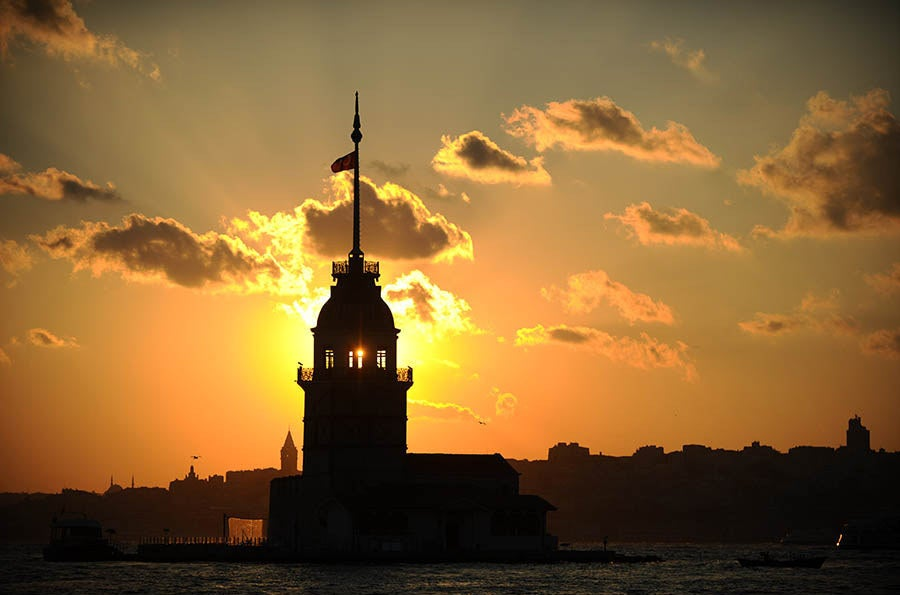 View of the Maiden's Tower in Istanbul.