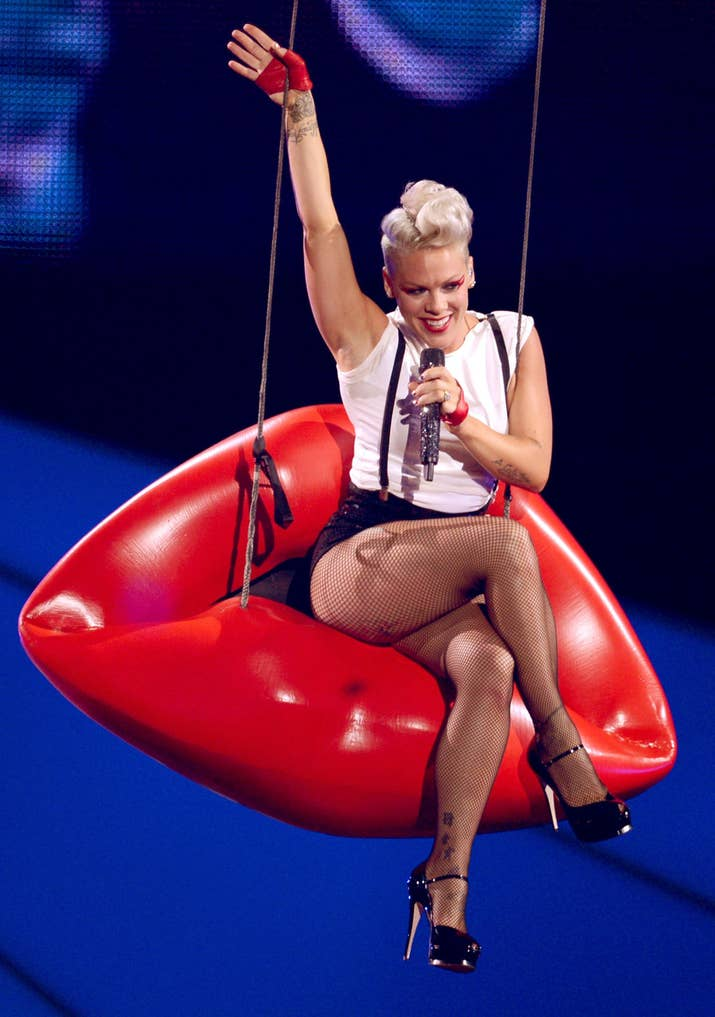 P!nk is one of the most athletic performers today, with stage shows that require death-defying stunts and inhuman acts of physicality.