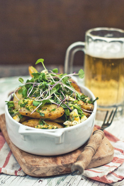 Roasted Onion and Fingerling Potato Salad with Chopped Egg and Herb ...