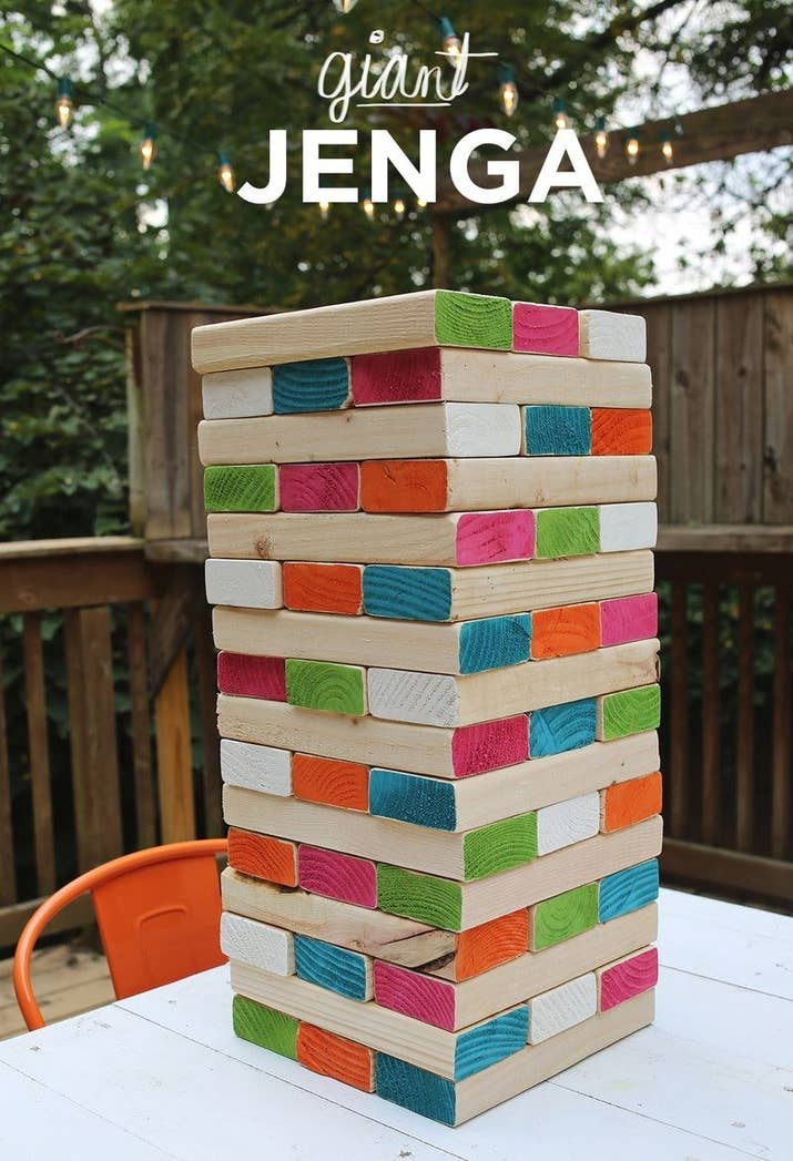 27 fun outdoor games youll want to play all summer long use 2x4 pieces to make a super sized version of the famous stacking game solutioingenieria Choice Image