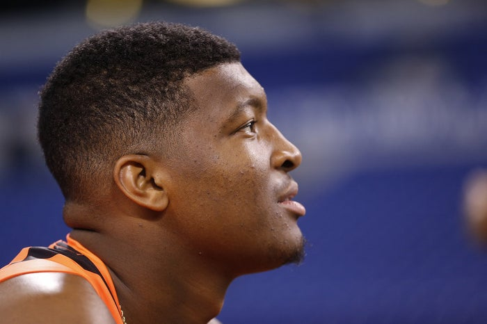Florida State quarterback Jameis Winston at the NFL football scouting combine in Indianapolis.