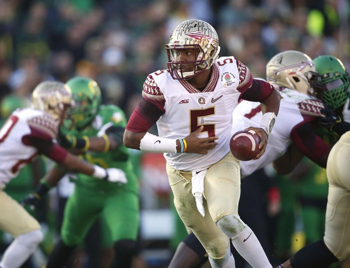 Florida State quarterback Jameis Winston in the Rose Bowl NCAA college football playoff semifinal in Pasadena, California.