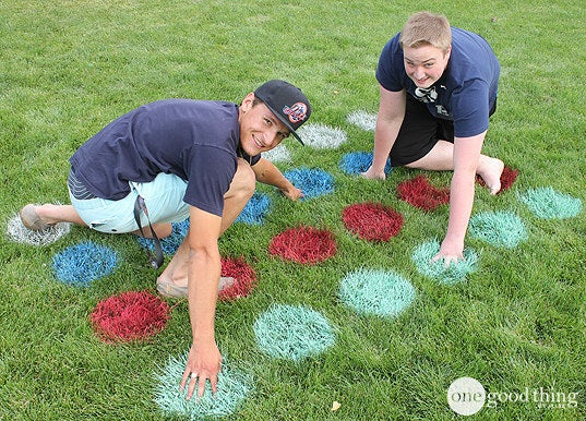 Use circular stencils and spray paint to turn your lawn into a game board.Full instructions at One Good Thing by Jillee.