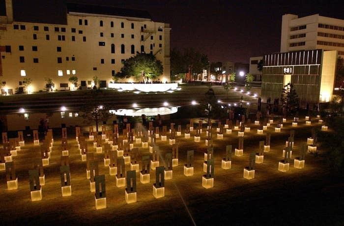 At the former site of the Oklahoma City bombing there are now 168 chairs, one for each of the victims killed in the bombing of the Alfred P. Murrah Federal Building April 19, 1995.