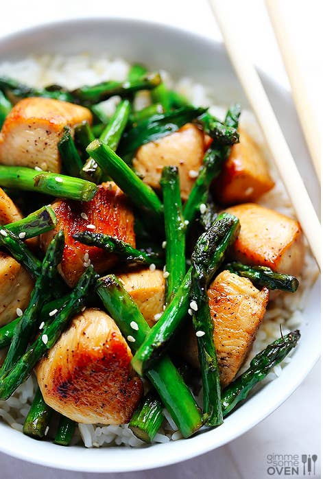 The chunks of chicken breast take all of 5 minutes to sauté on the stovetop, and the ingredients in the simple sauce — honey, garlic, soy sauce, and olive oil — are likely already in your pantry. Get the recipe.