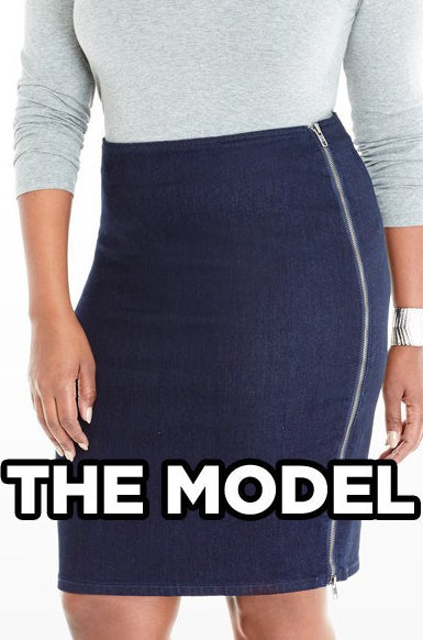 d86dcf6eb2bbf Olivia Side Zip Denim Pencil Skirt from Fashion to Figure  We re both  wearing a size 3X.