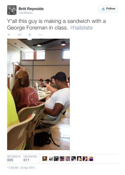 One student at Mississippi State University has been receiving attention on the Internet for bringing a George Foreman Grill to class. Roman Ehrhardt, a senior communication major, plugged the grill into the desk outlets that are usually used for cell phones. He sat in the middle of the front row with slippers and pajama pants during class. In an interview with Ehrhardt, the reason why he brought the grill to class was for a project where he had to violate a societal norm in a small group communication class taught by Dr. Hank Flick. Usually in the past, students have walked backwards in public places for norm violations. The idea came from a conversation with one of Ehrhardt's friends, he recommended that Ehrhardt not go through with it. Luckily, Ehrhardt talked to his introduction to communication theory professor, Dr. John Nicholson, the week prior to the norm violation. Dr. Nicholson helped Ehrhardt with the small details about how the project would take place. Students reported that Dr. Nicholson was smiling while Ehrhardt was making bacon.