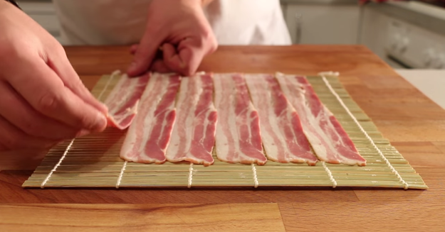 Then strips of bacon.