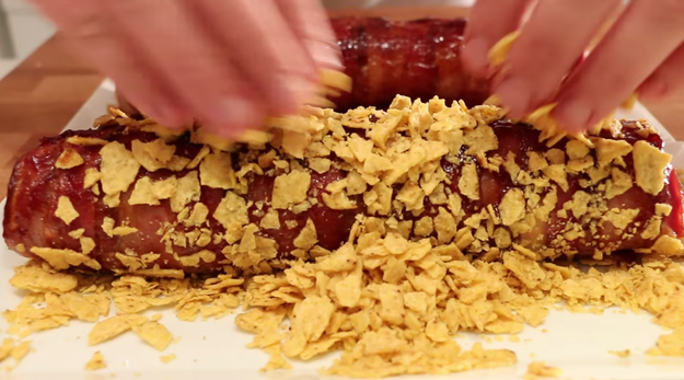 One BBQ Bacon Sushi gets covered with crunchy tortilla chips.
