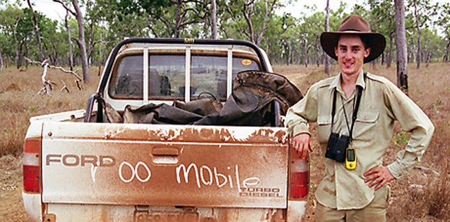 Euan in 2005, standing next to his roo-mobile