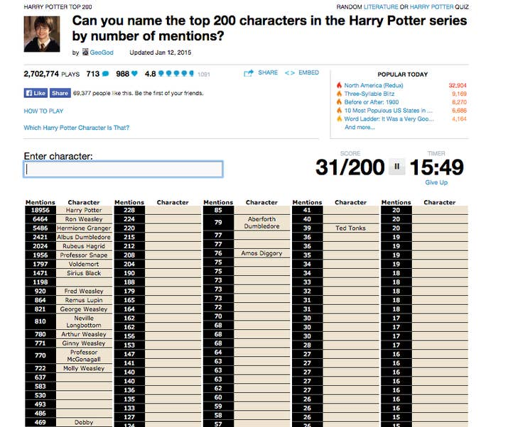 18 harry potter top 200 - Periodic Table Quiz Sporcle