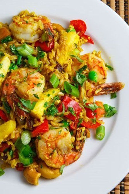 This recipe includes chili peppers, curry powder, cilantro, pineapple, and shrimp among many other explosive flavors. It's like a party in your mouth!