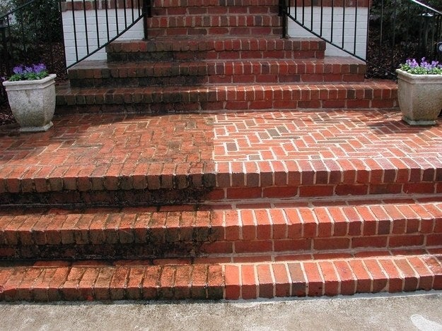You can pressure wash bricks, wood decking, concrete, stucco, windows, vinyl, metal, plastic garbage cans, grills. Everything looks better with a little hard scrub.