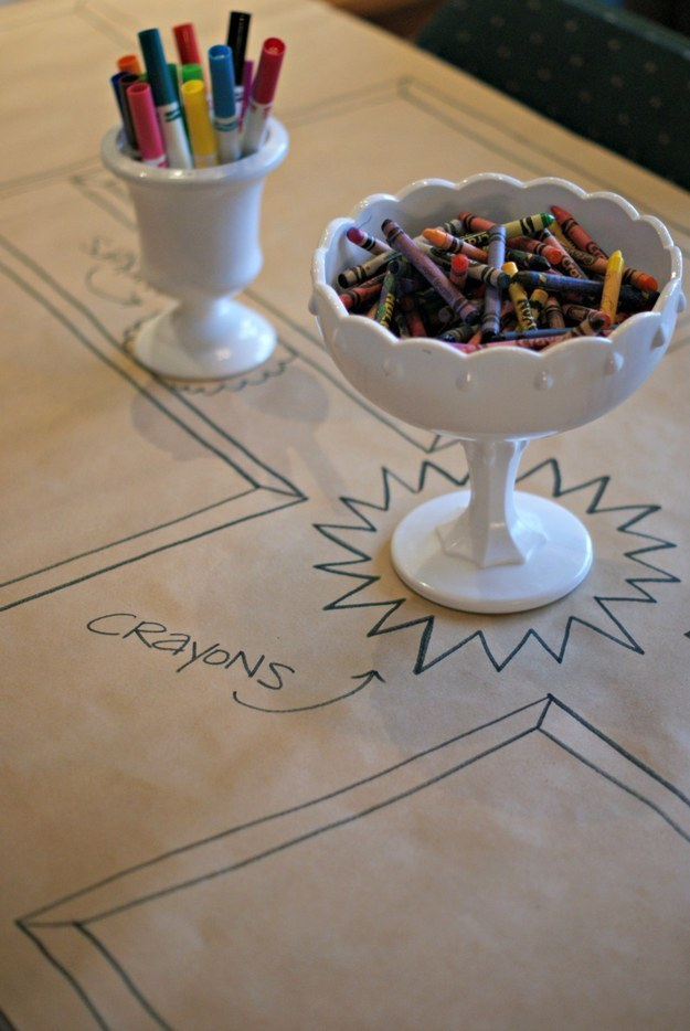 Speaking of the kids' table, forgo the fancy tablecloth and put down butcher paper instead.