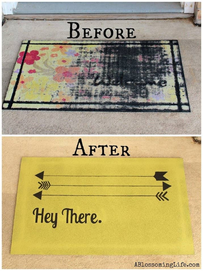 You can give new life to a ratty door mat with this easy tutorial from Smart Schoolhouse.