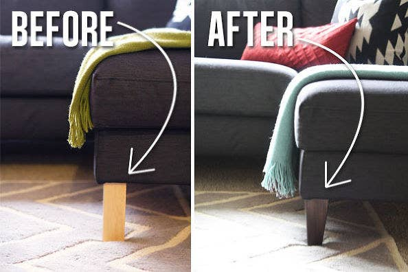 Use legs to make your couch look more expensive 19 Furniture Makeovers That Prove Legs Can Change Everything. Replacement Furniture Legs With Casters. Home Design Ideas