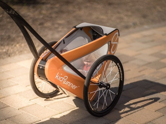 If you've ever tried running with a stroller, you know how brilliant this is.