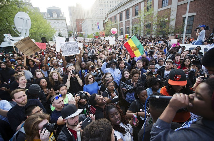 Crowds chant in Baltimore Wednesday.