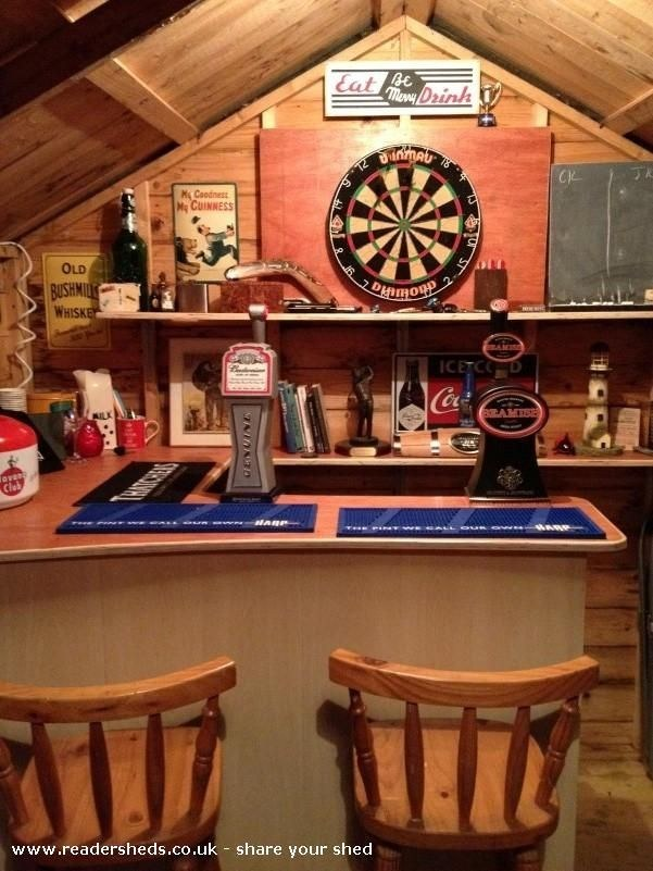 This is how to make your shed into your own private bar for Garden shed bar