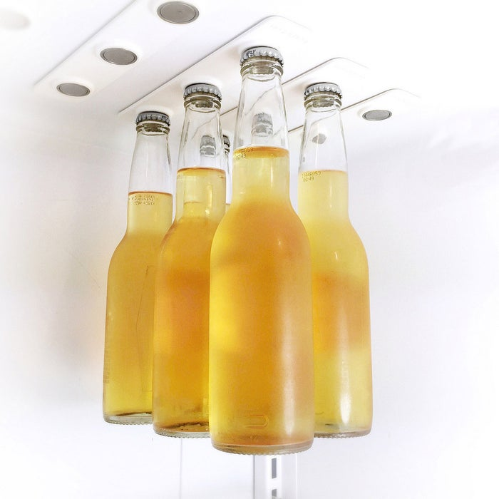 These insanely strong magnetic strips allow you to hang your beer from the ceiling of your fridge, freeing up space (plus it just looks cool).Price: $38