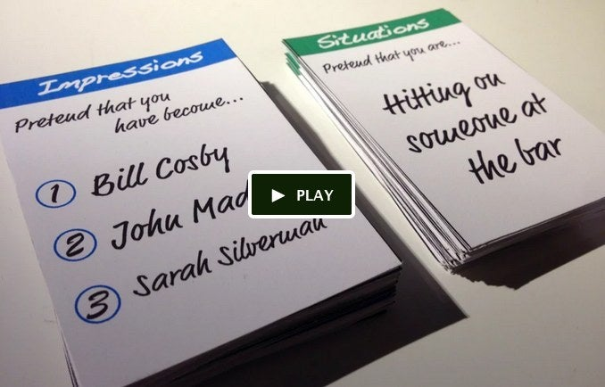 Card game that prompt hilarious impressions of famous people in awkward situations.