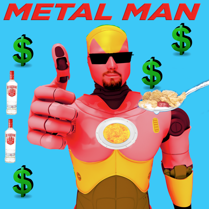 """Tommy Skarn has fallen off the wagon and is partying a lot. His new cereal, """"Silver Spoonz"""" is earning billions worldwide, but it's all going towards the lawyers who work around the clock to keep the IRS off his back.The only time he dons his Metal Man costume is when he appears in commercials for """"Silver Spoonz"""""""