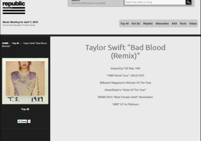 "The image surfaced on Twitter today after music blog Headline Planet reported that RepublicPlaybook.com had inadvertently confirmed ""Bad Blood"" as the next single. Republic is the distribution partner of Swift's label, Big Machine Records, and has two listings for her current single ""Style."""
