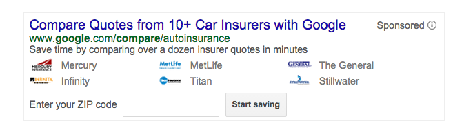 "A Google Compare widget generated by a search for ""car insurance."""