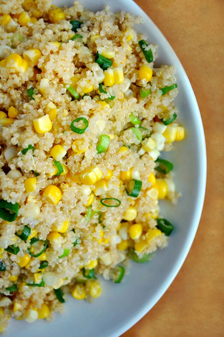 25 quinoa recipes that are actually delicious quinoa with corn and scallions with honey butter dressing forumfinder Gallery
