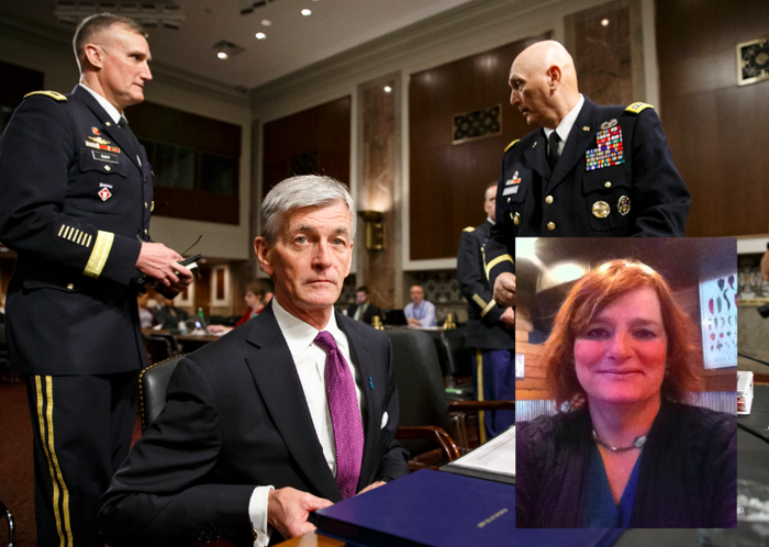 Secretary of the Army John M. McHugh, flanked by Army Chief of Staff Gen. Raymond Odierno, right, and Maj. Gen. William E. Rapp, the Army legislative liaison, at the Senate Armed Services Committee in 2014. Inset: Tamara Lusardi.