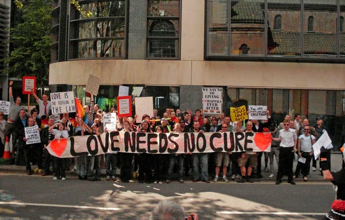 A protest against a conversion therapy conference in London in 2009.