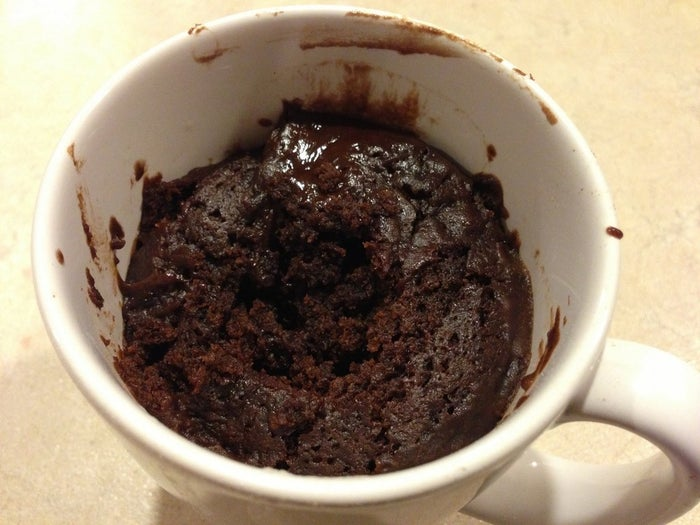 Let's not get cute and pretend like I put some Betty Crocker mix in the mug and cooked it that way. I bought the brownie from Vons. Who gives a shit? It's in the mug now. You got what you wanted.