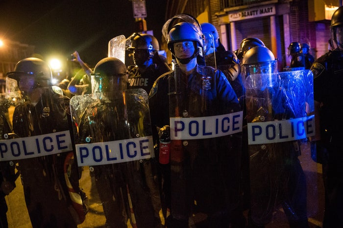Riot police on April 30 in West Baltimore.