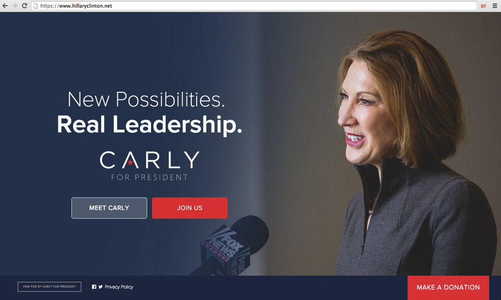 HillaryClinton.net Redirects To Carly Fiorina's Campaign Website