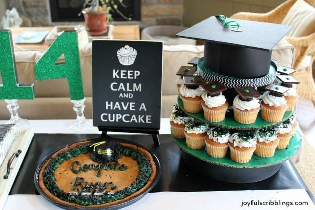 Graduation Pool Party Ideas wwwcappelsblogcom 17 Instead Of A Sheet Cake Make A Cardboard Cupcake Stand And Fill It With Goodies